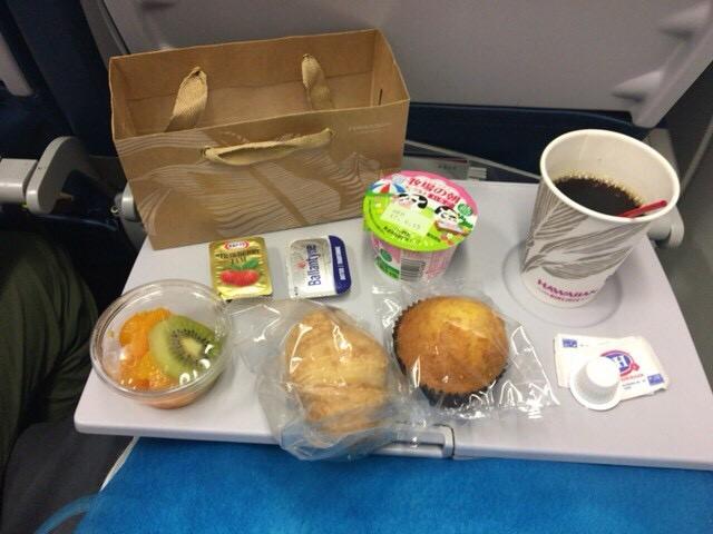 ハワイアン航空機内食の朝食